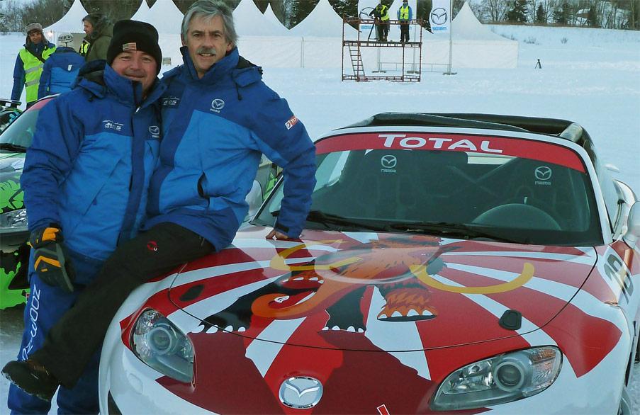 Ex-Formel-1-Star René Arnoux und Stefan Lüscher im Team Switzerland beim Mazda MX-5 IceRace 2011