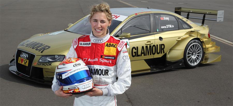 Das Schweizer Glamour-Girl: Rahel Frey startet in der DTM mit einem goldenen Audi A4.