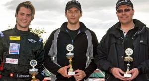 Das MINI Challenge-Podest vom Sprint in Anneau du Rhin: v.l. Thierry Kilchenmann (2.), Marcel Muzzarelli (Sieger) und Jürg Jucker.