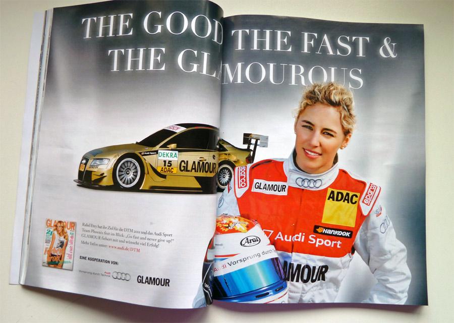 Die Schweizer Audi-DTM-Pilotin Rahel Frey lacht doppelseitig aus dem VOGUE-Magazin Juni 2011