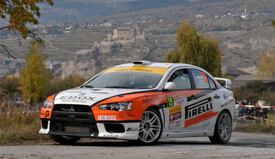Der achtfache Sieger der Rallye du Valais, Olivier Burri,  fuhr im Mitsubishi Evolution X ohne Probleme auf den zweiten Gesamtrang