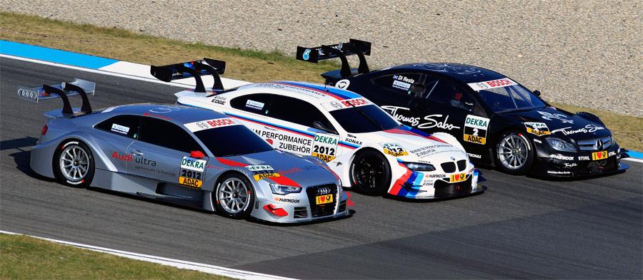 Audi, BMW und Mercedes präsentierten am Hockenenheimring ihre spektakulären DTM-Fahrzeuge für die Saison 2012.