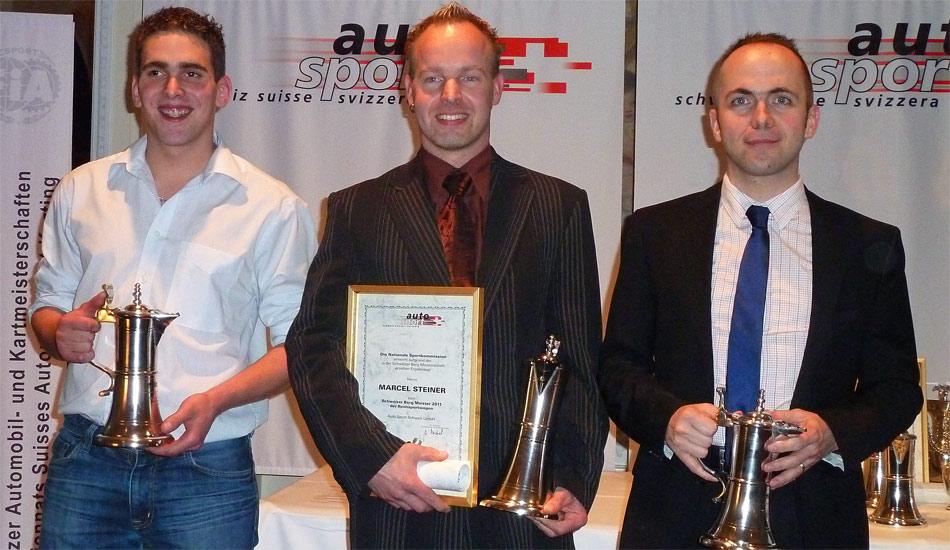 Schweizer Bergmeisterschaft Rennwagen 2011: Sieger Marcel Steiner (Osella Zytek, Mitte), Rang 2 Joel Volluz (Reynard, links), 3. Rang Florian Lachat (Tatuus Mugen)
