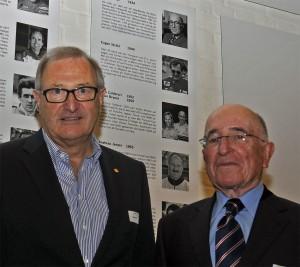 Eugen Strähl (l.) und Claude Sage wurden im Autobau Romanshorn Ende 2011 in den illusteren Kreis der Wall of Fame der erfolgreichsten Schweizer Motorsportgrössen aller Zeiten aufgenommen.
