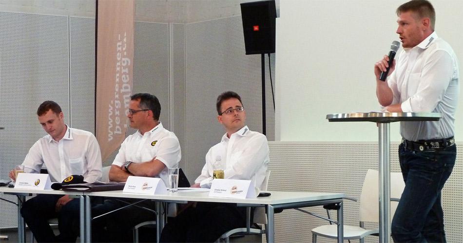 Pressekonferenz mit den Initianten des Bergrennens Hemberg 2012: von rechts OK-Präsident Christian Schmid, Vize-Präsident Patrick Rutz, Christian Mettler (ACS TG) und Marco Moser.