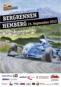 Das Plakat zeigt den Lokalmatadoren Leander Baumann, der auf einem Formel Renault fährt.