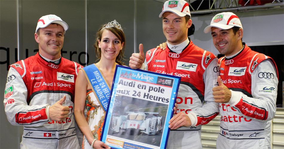 Trainingsbestzeit für Marcel Fässler, André Lotterer und Benoit Tréluyer mit dem Audi R18 e-tron quattro für die 24h von Le Mans