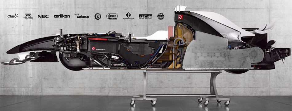 Der aufgeschnittene Sauber Formel 1 gibt nie dagewesene Einblicke in die komplexe Technik der modernen Formel 1.