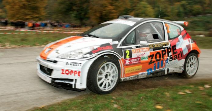 Der frischgebackene Schweizer Meister Nicolas Althaus (Peugeot) komplettierte als Dritter das Podest der Rallye Valais 2012.