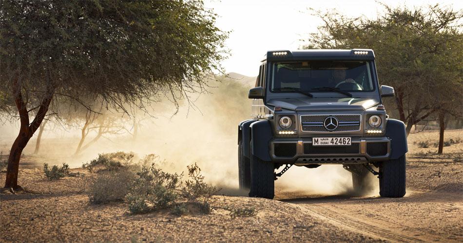 Der AMG G 6x6 hat eine extreme Bodenfreiheit dank Achsen aus dem Militätbereich.