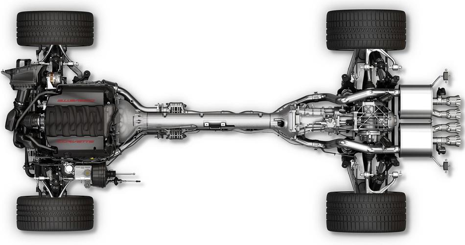 Der hinter der Vorderachse montierte V8 und die Transaxle-Anordnung des Getriebes garantieren eine ausgewogene Gewichtsverteilung.
