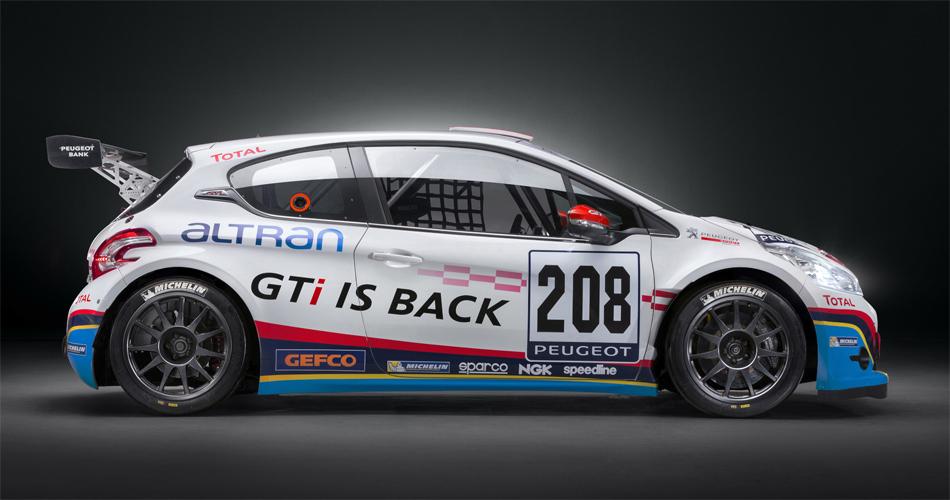 Der 208 GTI für das 24h Rennen auf dem Nürburgring wurde auf 990 kg abgespeckt. Die Leistung wurde von 200 auf 300 PS erhöht.