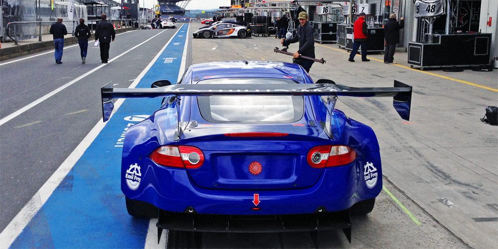 Der Emil Frey GT3 Jaguar beim Blancpain Endurance Finale 2013 auf dem Nürburgring