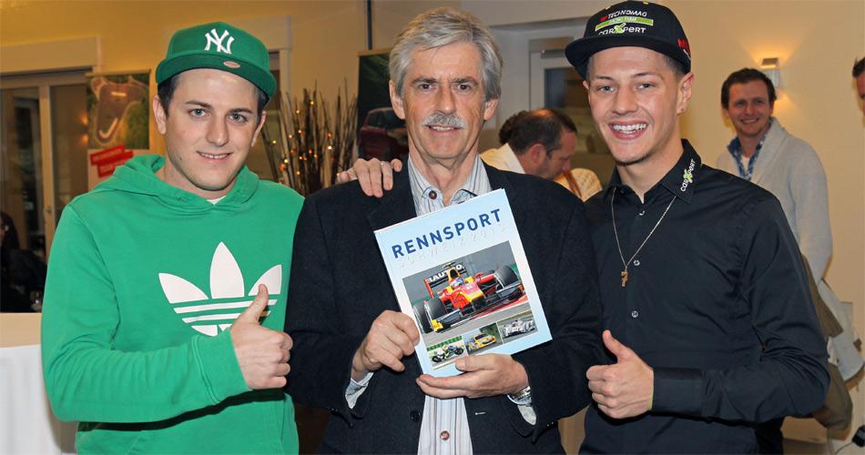 Die auf dem Titel verewigten Piloten Fabio Leimer (l. GP2 Champion) und Dominique Aegerter (Moto2) mit Autor Stefan Lüscher.