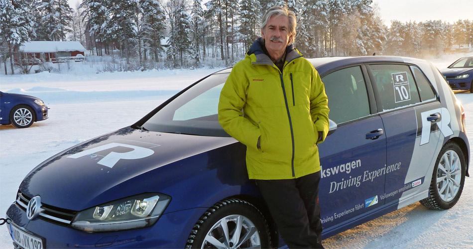 So erlebt Stefan Lüscher den Winter von seiner besten seite: minus 23°, 300 PS, Spikereifen, Allradantrieb und ein riesengrosser zugefrorener See in Nordschweden.